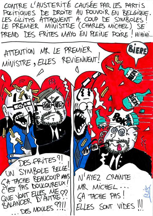 Attentat à la frite contre le premier ministre belge